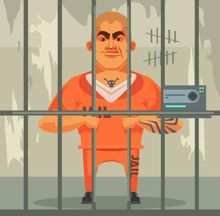imprisoned person: Prisoner man character in jail. Vector flat cartoon illustration Illustration