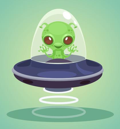 Ufo alien character. Vector flat cartoon illustration