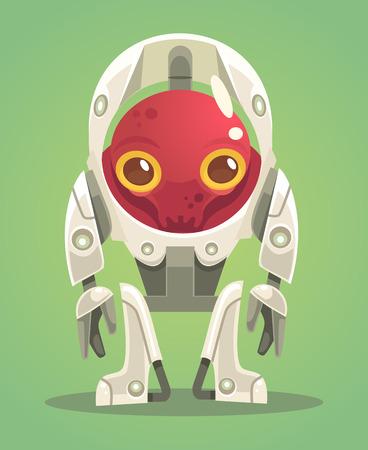 Alien character in spacesuit. Vector flat cartoon illustration