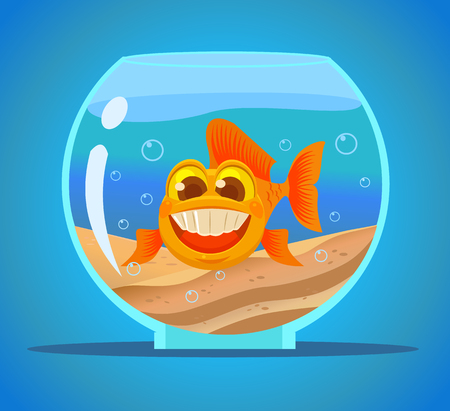 Aquarium fish character. Vector flat cartoon illustration Illustration