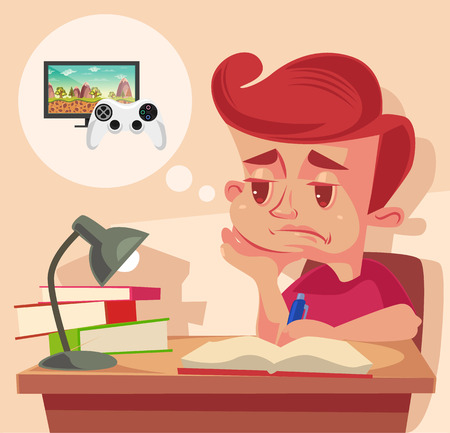 i kids: School child character do not want to do homework. Vector flat cartoon illustration Illustration