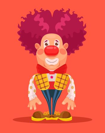 wig: Clown character. Vector flat cartoon illustration Illustration