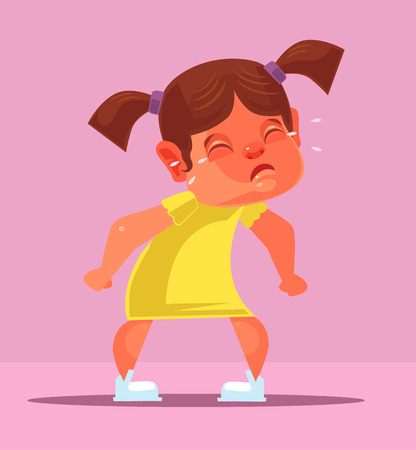 hysterics: Yelling girl child character. Vector flat cartoon illustration