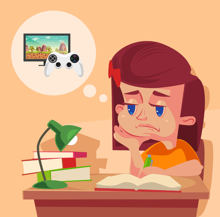 laziness: School girl child character do not want to do homework. Vector flat cartoon illustration