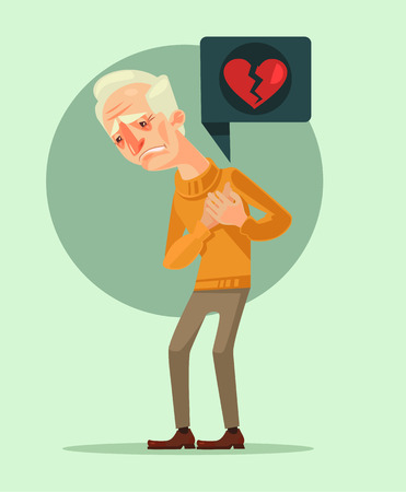 agony: Grandfather character with heart attack. Vector flat cartoon illustration