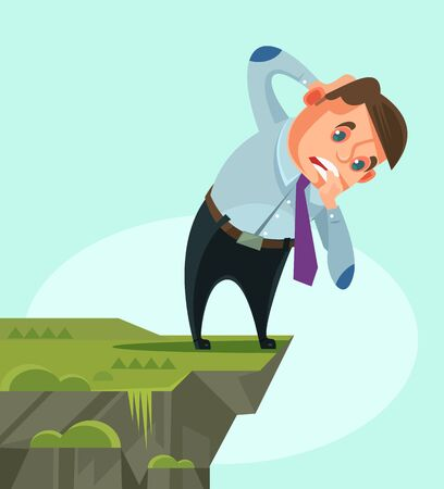 Businessman character looking down. Vector flat cartoon illustration
