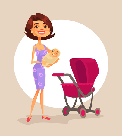 babysit: Happy mother character holding baby in hands. Vector flat cartoon illustration