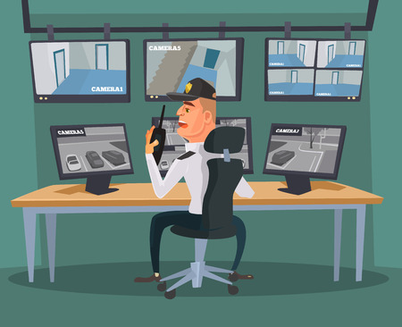 computerized: Security guard character watching cameras. Vector flat cartoon illustration