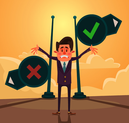x stand: Yes or no choice. Thinking businessman character. Vector flat cartoon illustration