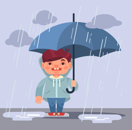 Little boy character under rain. Vector flat cartoon illustration