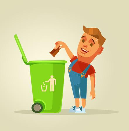 소년 캐릭터는 쓰레기통에 쓰레기가 발생합니다. 벡터 평면 만화 그림