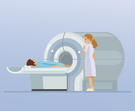 CT scan and patient. Vector flat cartoon illustration