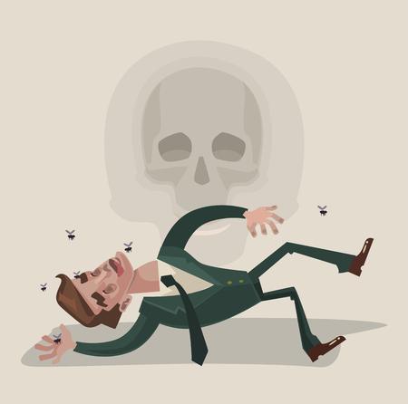 character assassination: Dead office worker character. Vector flat cartoon illustration Illustration
