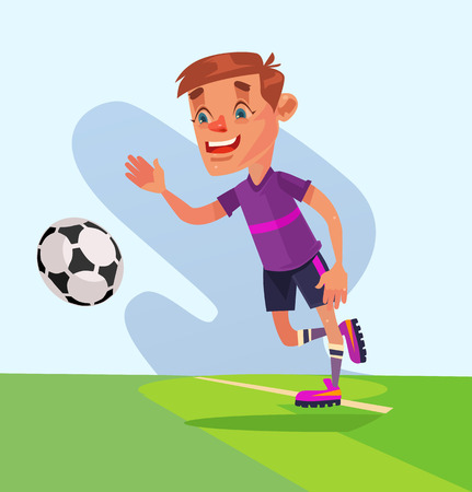 Little boy character play football. Vector flat cartoon illustration