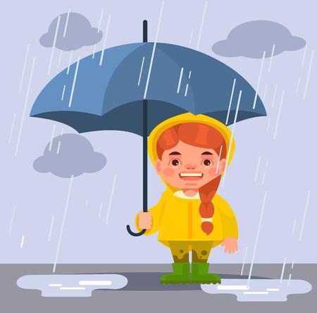 sotto la pioggia: Little girl character under rain. Vector flat cartoon illustration Vettoriali