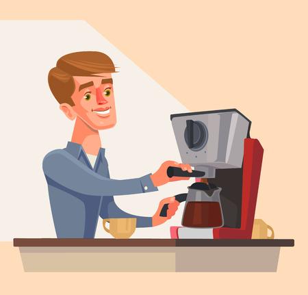barista: Man character preparing morning coffee. Vector flat cartoon illustration