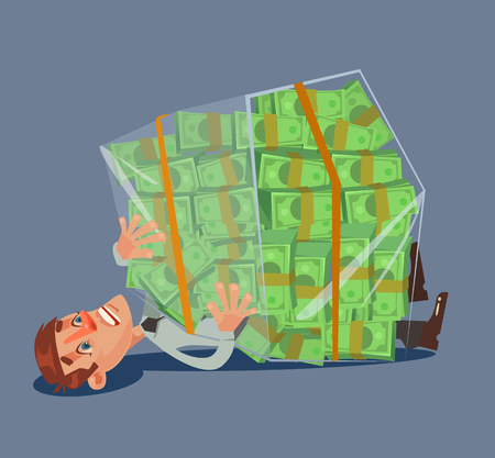 Office worker man character crushed bunch of money. Vector flat cartoon illustration