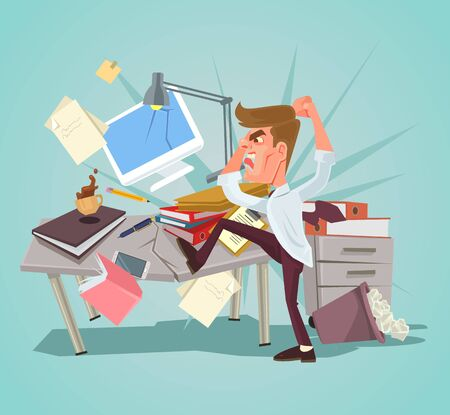 Angry office worker character crash workplace. Vector flat cartoon illustration