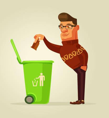 Good man character throw garbage in trash bin. Vector flat cartoon illustration