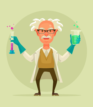 madness: Old crazy scientist character hold test tube. Vector flat cartoon illustration