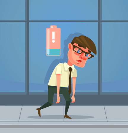 has: Tired man office worker character has no energy. Vector flat cartoon illustration
