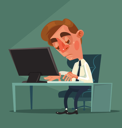 apathy: Tired office worker man character. Vector flat cartoon illustration