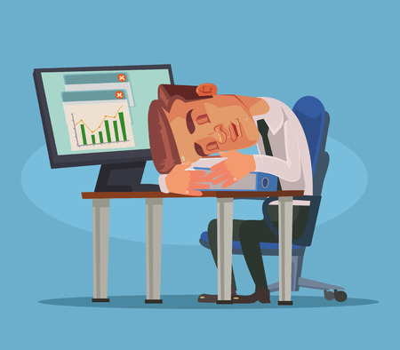 Office worker man character sleeping on workplace. Vector flat cartoon illustration Illustration