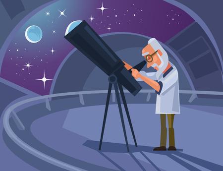 Astrónomo carácter científico mirando por el telescopio.