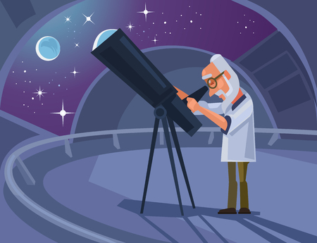 Astronomer scientist character looking through telescope. Vettoriali