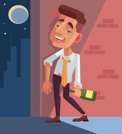 worker person: Drunk office worker businessman character. Vector flat cartoon illustration