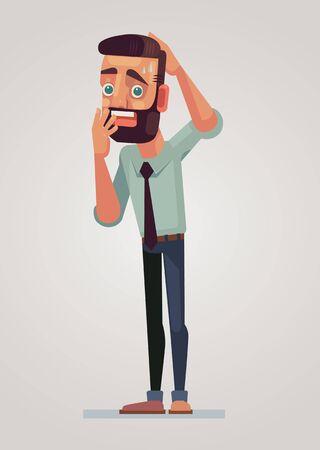 frighten: Frightened man character. Vector flat cartoon illustration