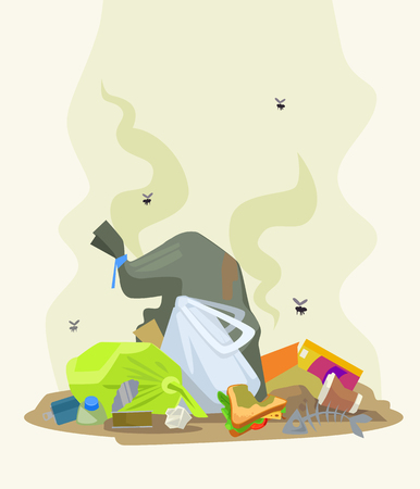 junkyard: Garbage dump. Vector flat cartoon illustration