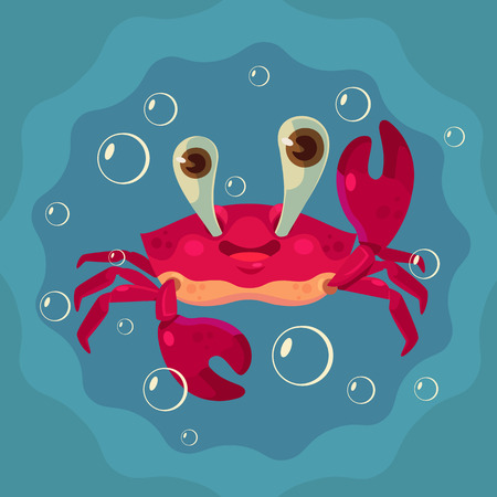 Happy cute crab character. Vector flat cartoon illustration