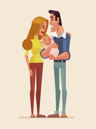 family: Happy family with newborn child. Vector flat cartoon illustration Illustration