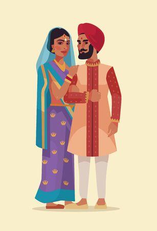 Happy Indian couple. Vector flat cartoon illustration