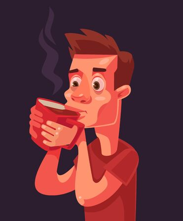 one people: Morning coffee Sleepy man character. Vector flat cartoon illustration Illustration