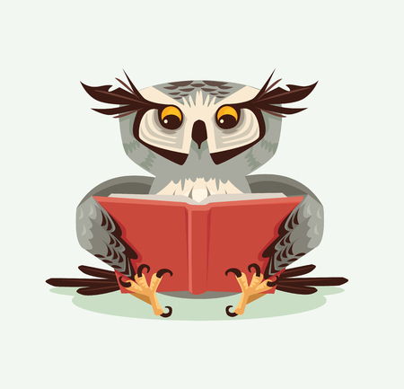 Professor wise owl character reading book.