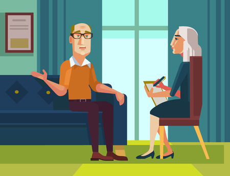 psych: Patient character talking to psychologist about problems. Vector flat cartoon illustration