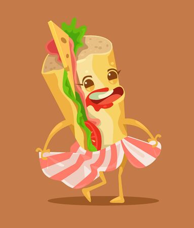 bun: Happy funny sandwich character dance. Vector flat cartoon illustration