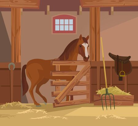 Horse farm. Vector flat cartoon illustration