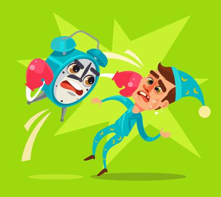 Alarm clock character hit office worker. Vector flat cartoon illustration
