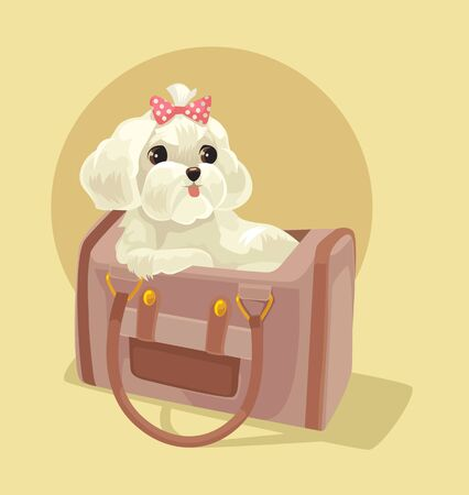 Small dog character sitting in lady bag. Vector flat cartoon illustration Illustration