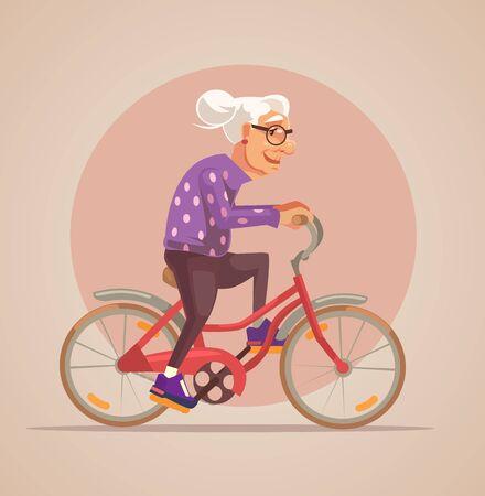 happy seniors: Grandmother character ride bike. Vector flat cartoon illustration Illustration