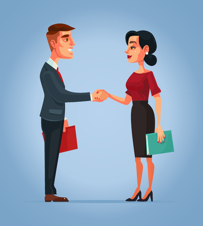 Businessman and businesswoman characters handshake. Vector flat cartoon illustration