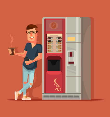 Man character drinking coffee next to coffee machine. Vector flat cartoon illustration