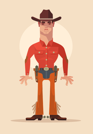 Cowboy sheriff character. Vector flat cartoon illustration