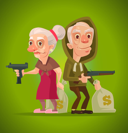 bonnie: Bonnie and Clyde. Grandma and grandpa characters thieves. Vector flat cartoon illustration