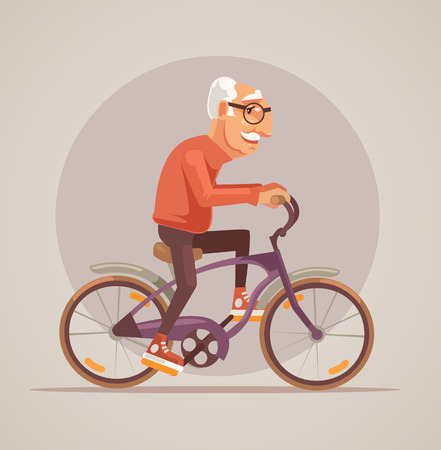 Grandfather character ride bike. Vector flat cartoon illustration