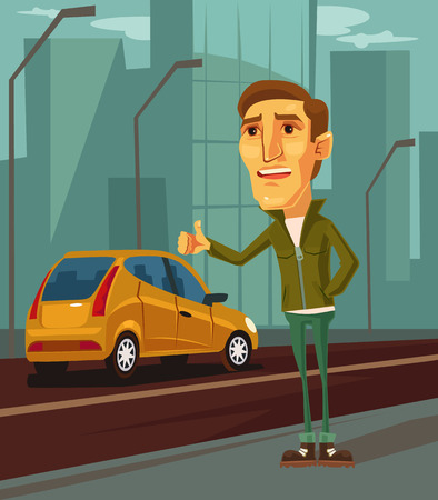 Man character trying to catch taxi. Vector flat cartoon illustration