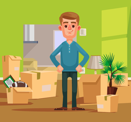 delivery room: Man character moving to new house. Vector flat cartoon illustration
